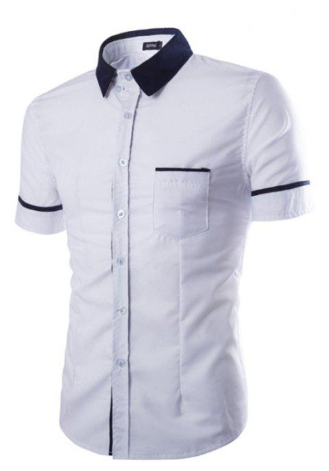 Men's Casual Short Sleeved Shirts - WHITE 2XL