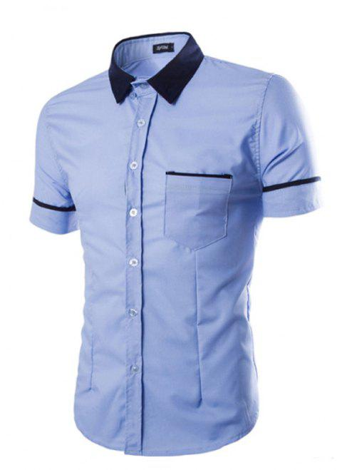 Men's Casual Short Sleeved Shirts - BLUE 2XL