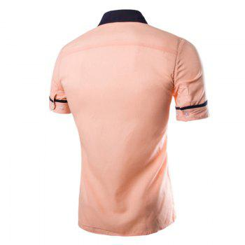 Men's Casual Short Sleeved Shirts - PINK 2XL