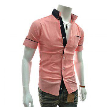 Men's Casual Short Sleeved Shirts - PINK M