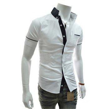 Men's Casual Short Sleeved Shirts - WHITE M