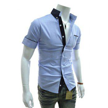 Men's Casual Short Sleeved Shirts - BLUE BLUE