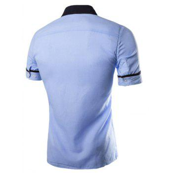 Men's Casual Short Sleeved Shirts - BLUE M