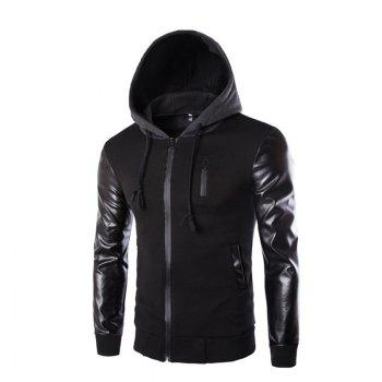 Men's Wear Hooded Jacket - BLACK BLACK