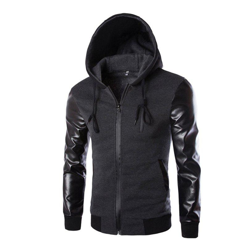Men's Wear Hooded Jacket - DARK GRAY M