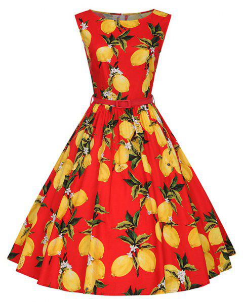 Woman's Sleeveless Lemon Print Large Dress - RED M