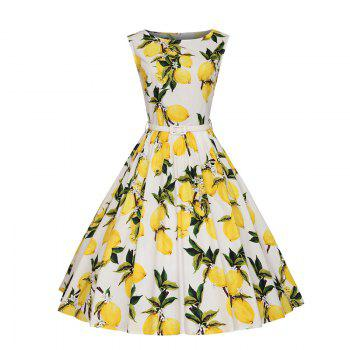 Woman's Sleeveless Lemon Print Large Dress - WHITE WHITE