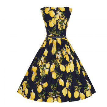 Woman's Sleeveless Lemon Print Large Dress - BLACK M