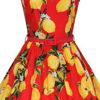 Woman's Sleeveless Lemon Print Large Dress - RED XL