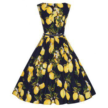 Woman's Sleeveless Lemon Print Large Dress - BLACK XL