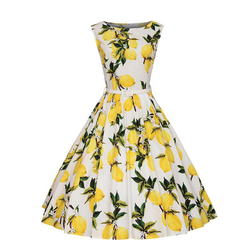 Woman's Sleeveless Lemon Print Large Dress - WHITE M