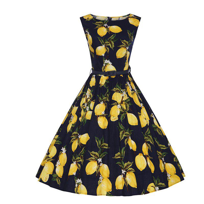 Woman's Sleeveless Lemon Print Large Dress - BLACK S