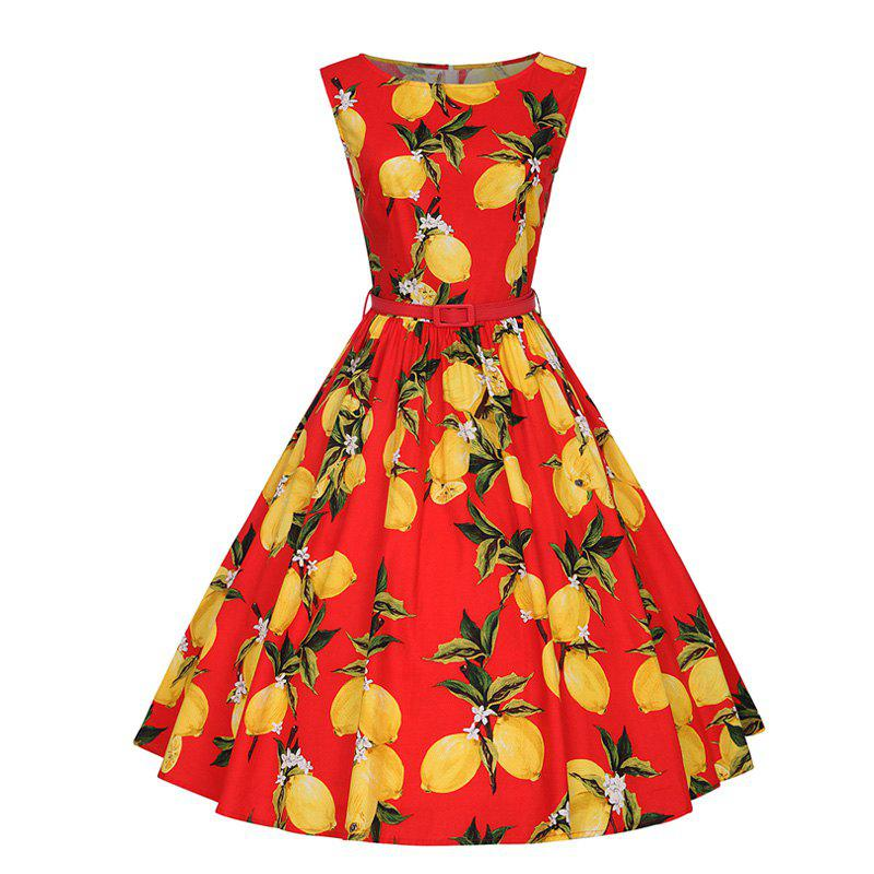Woman's Sleeveless Lemon Print Large Dress - RED S