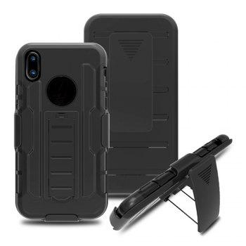 Shatter-resistant with Bracket Phone Case for iPhone X - BLACK BLACK