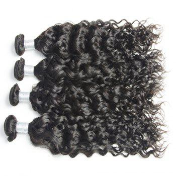 Malaysian Water Wave Virgin Human Hair Extension Natural Color 1 bundle 12inch - 26inch - BLACK BLACK