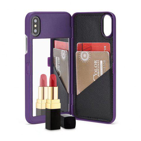 Miroir de luxe Flip Phone Cover pour iPhone X Case Girl - Pourpre
