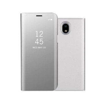 Mirror Flip Leather Clear View Window Smart Cover for Samsung Galaxy J730 / J7 Pro Case - SILVER SILVER