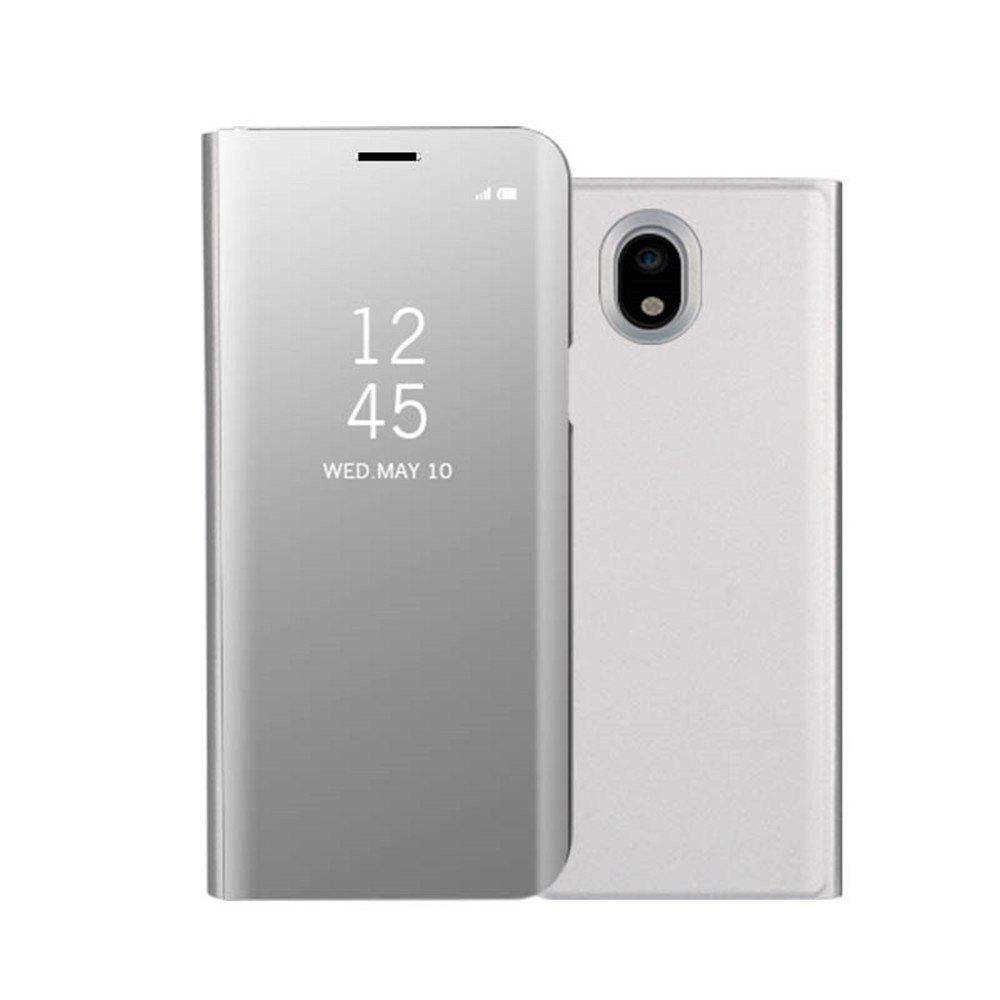 Mirror Flip Leather Clear View Window Smart Cover for Samsung Galaxy J730 / J7 Pro Case - SILVER