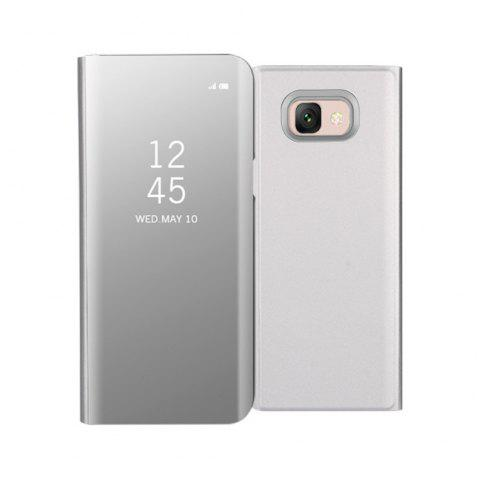 Mirror Flip Leather Clear View Window Smart Cover for Samsung Galaxy J7 Max Case - SILVER