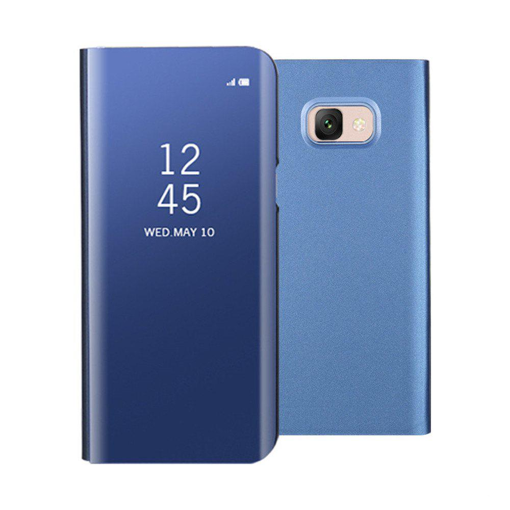 Mirror Flip Leather Clear View Window Smart Cover for Samsung Galaxy J7 Max Case - BLUE