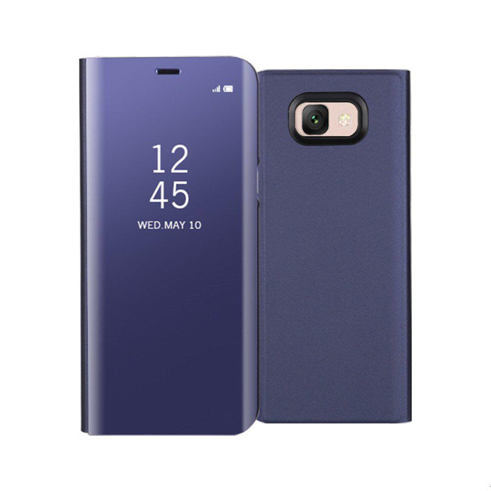 Mirror Flip Leather Clear View Window Smart Cover for Samsung Galaxy J7 Max Case - PURPLE