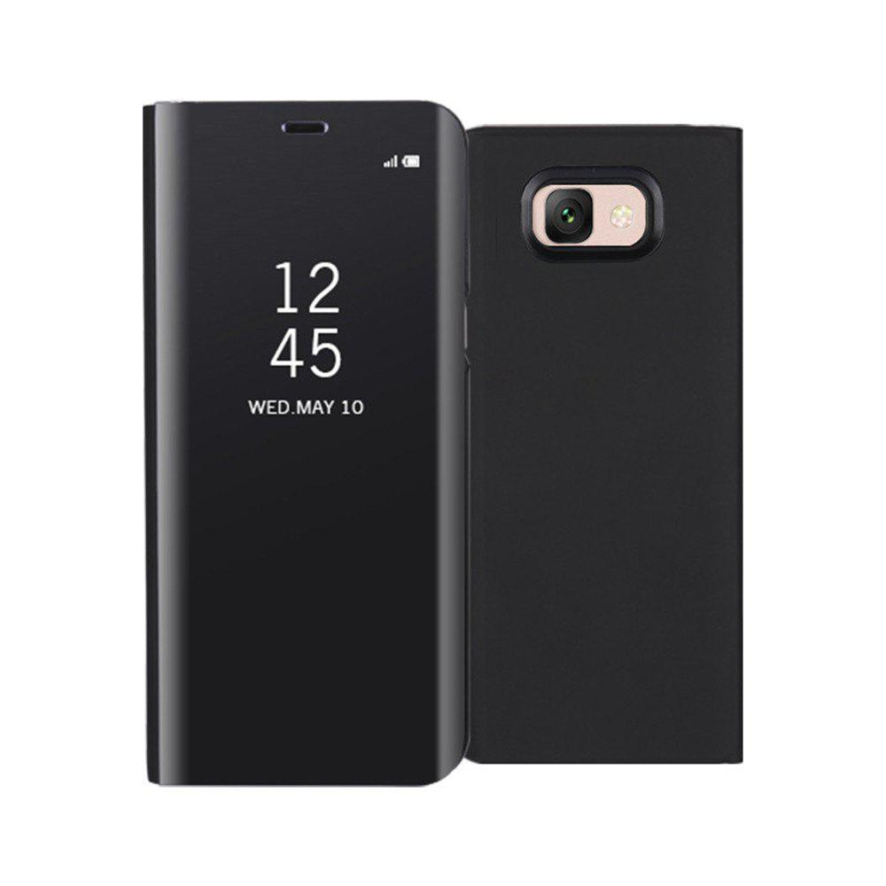 Mirror Flip Leather Clear View Window Smart Cover for Samsung Galaxy J7 Max Case - BLACK