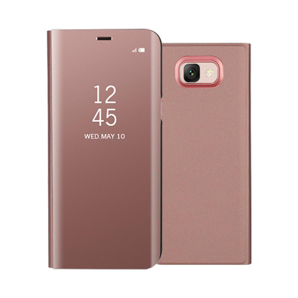 Mirror Flip Leather Clear View Window Smart Cover for Samsung Galaxy J7 Max Case - ROSE GOLD