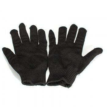 Stainless Steel Wire Safety Work Anti-slash Cut Static Resistance Protective Gloves Polyester Fistfight Riot Gear - BLACK