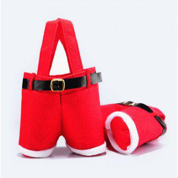 2PCS Christmas Present Candy Bags Santa Pants Style for Wedding Holiday New Year Holiday Christmas Decorations - RED RED