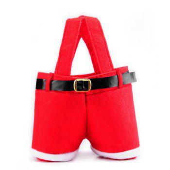 2PCS Christmas Present Candy Bags Santa Pants Style for Wedding Holiday New Year Holiday Christmas Decorations -  RED