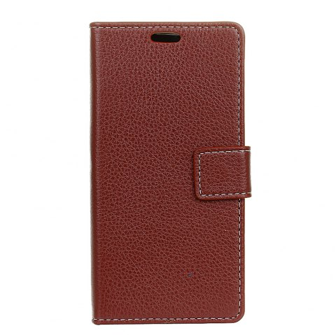 Litchi Pattern PU Leather Wallet Case for MOTO M - BROWN