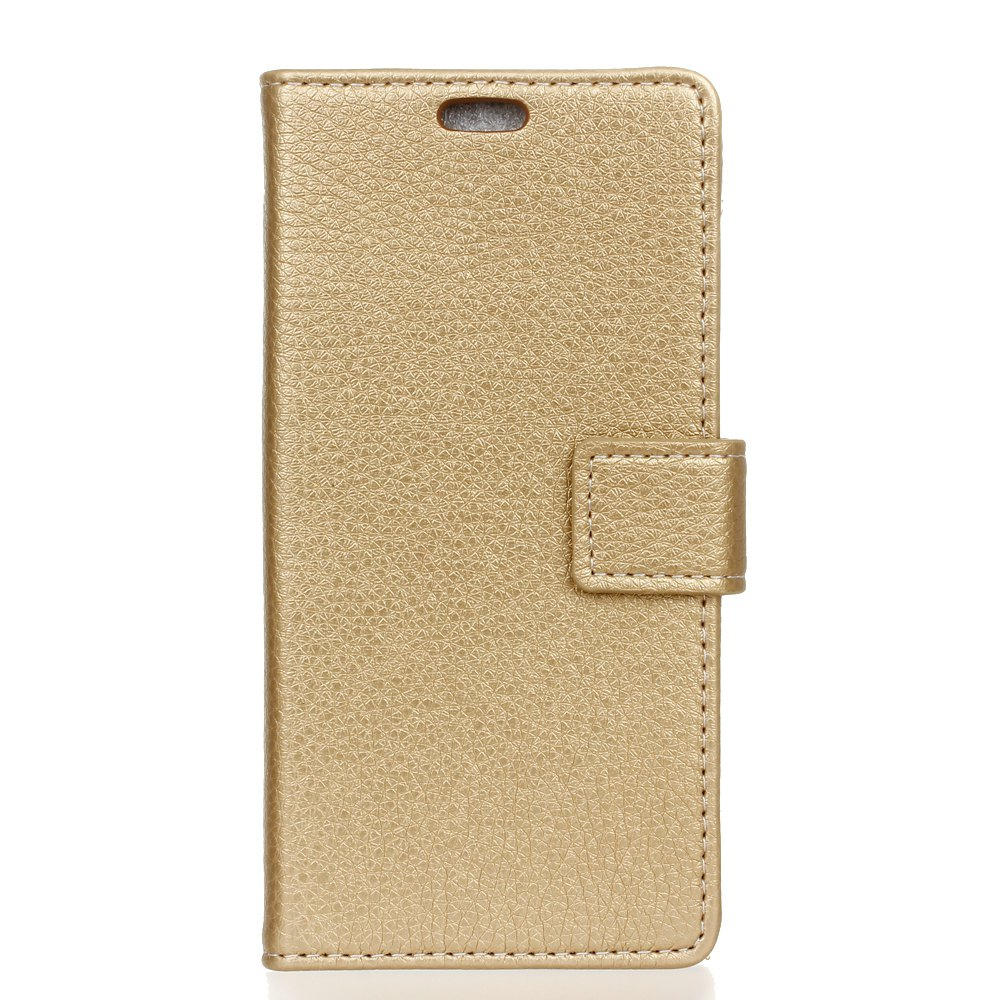 Litchi Pattern PU Leather Wallet Case for MOTO M - GOLDEN