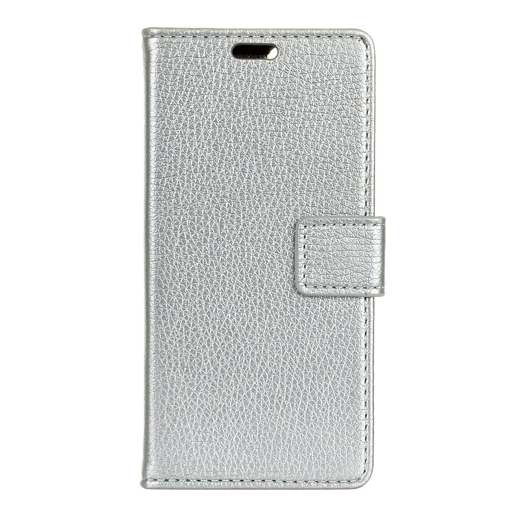 Litchi Pattern PU Leather Wallet Case for MOTO M - SILVER
