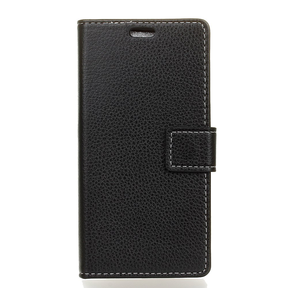 Litchi Pattern PU Leather Wallet Case for BQ Aquaris  X5 Plus - BLACK