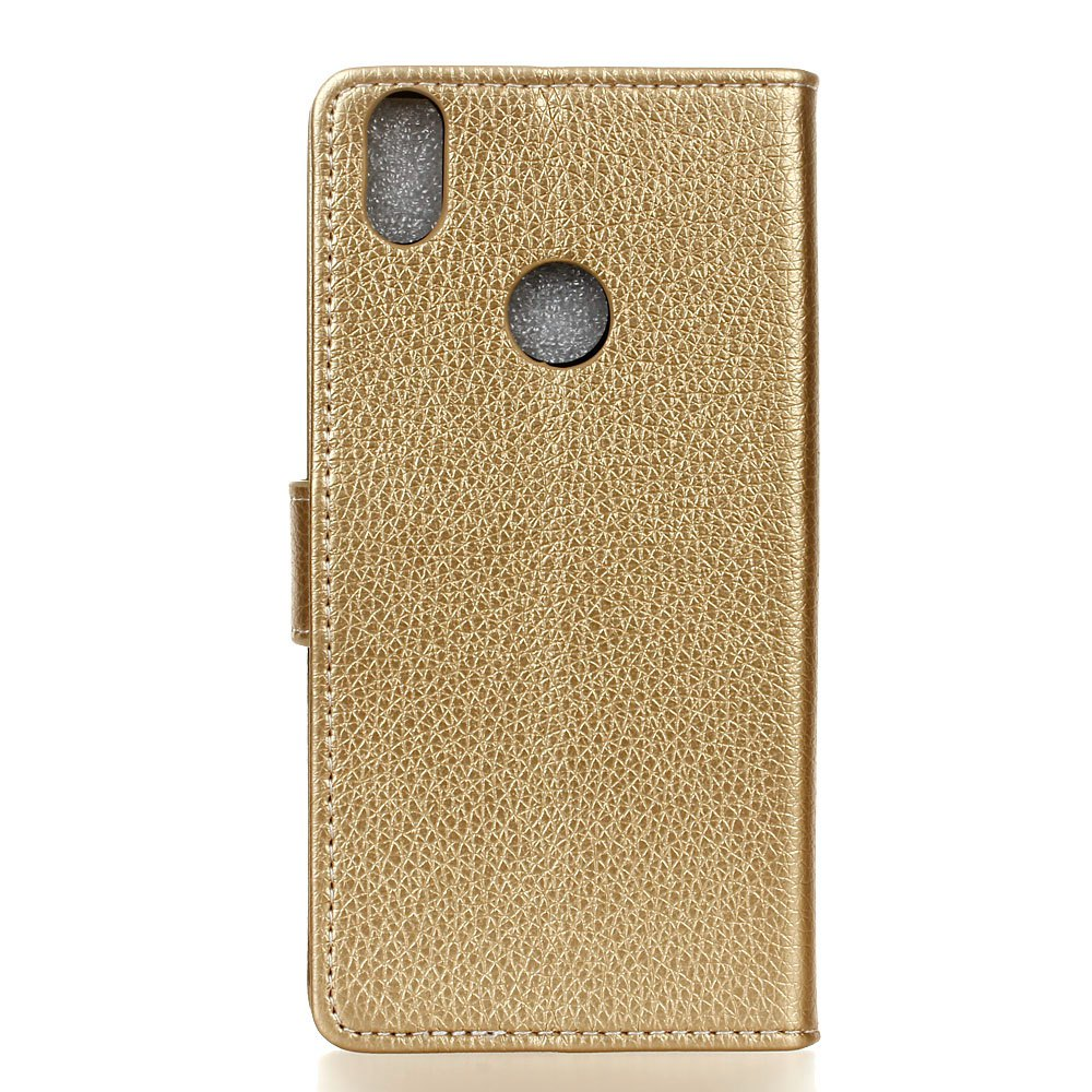 Litchi Pattern PU Leather Wallet Case for BQ Aquaris  X5 Plus - GOLDEN