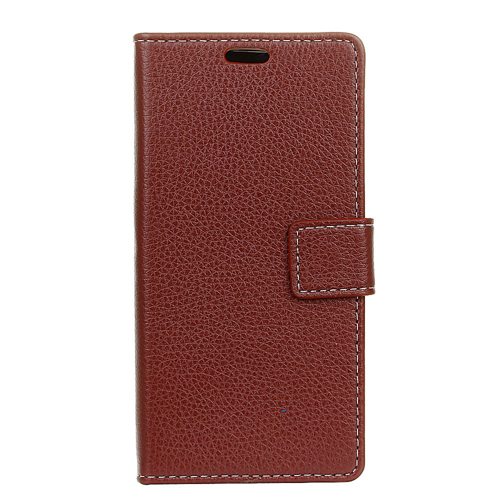 Litchi Pattern PU Leather Wallet Case for Huawei Enjoy 6S - BROWN