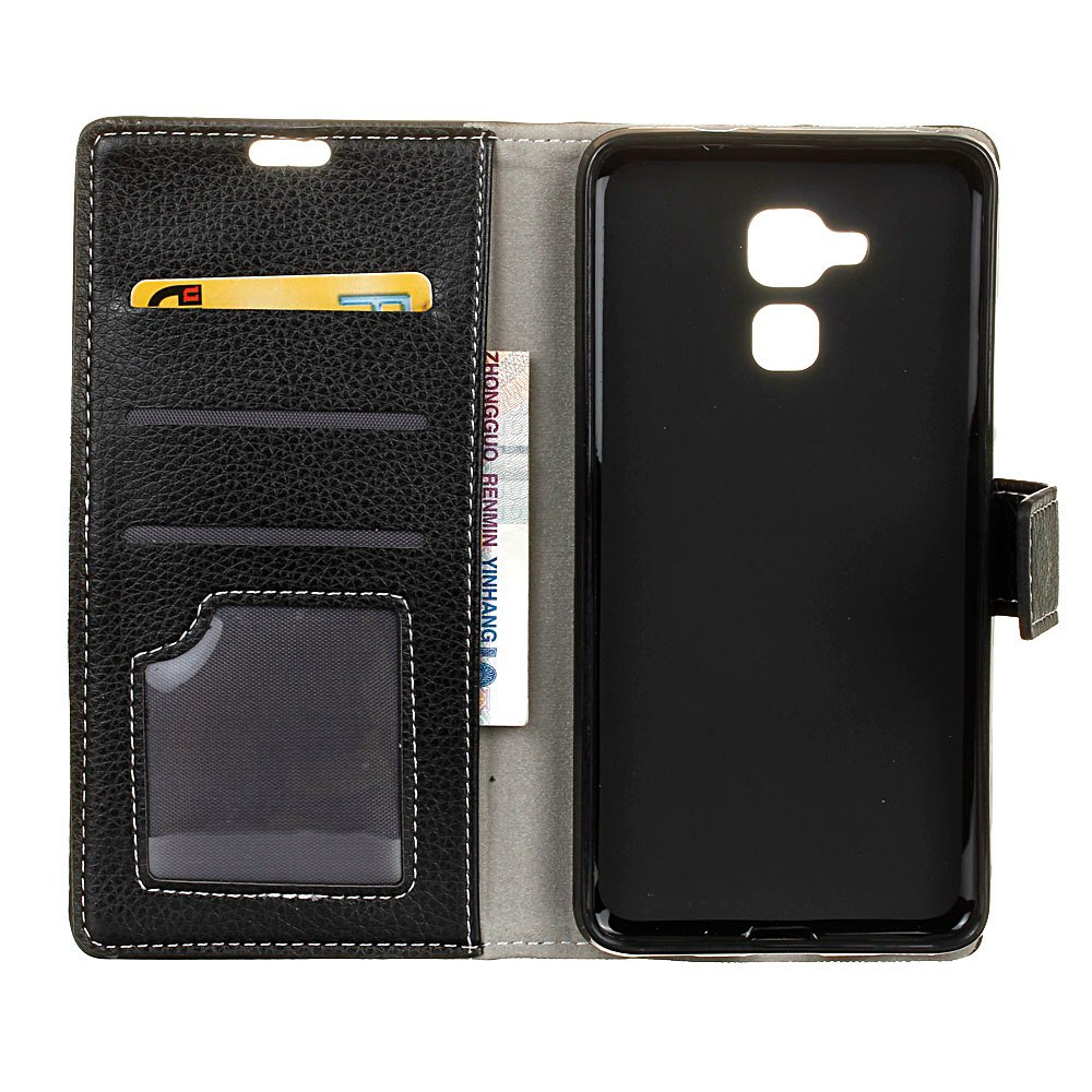 Litchi Pattern PU Leather Wallet Case for Huawei Honor 5C - BLACK