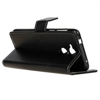 Litchi Pattern PU Leather Wallet Case for Huawei Honor 6A -  BLACK