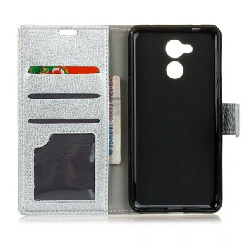Litchi Pattern PU Leather Wallet Case for Huawei Honor 6A - SILVER