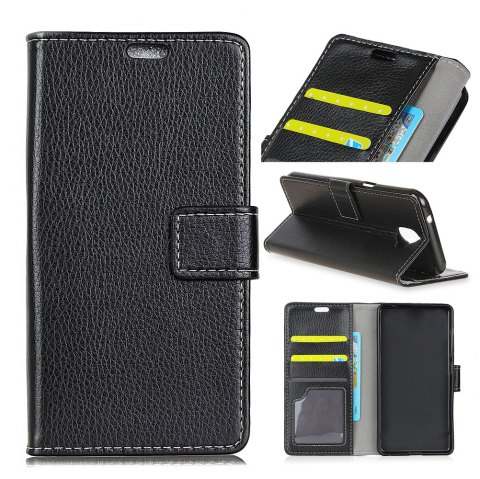 Litchi Pattern PU Leather Wallet Case for Huawei Honor 7X - BLACK