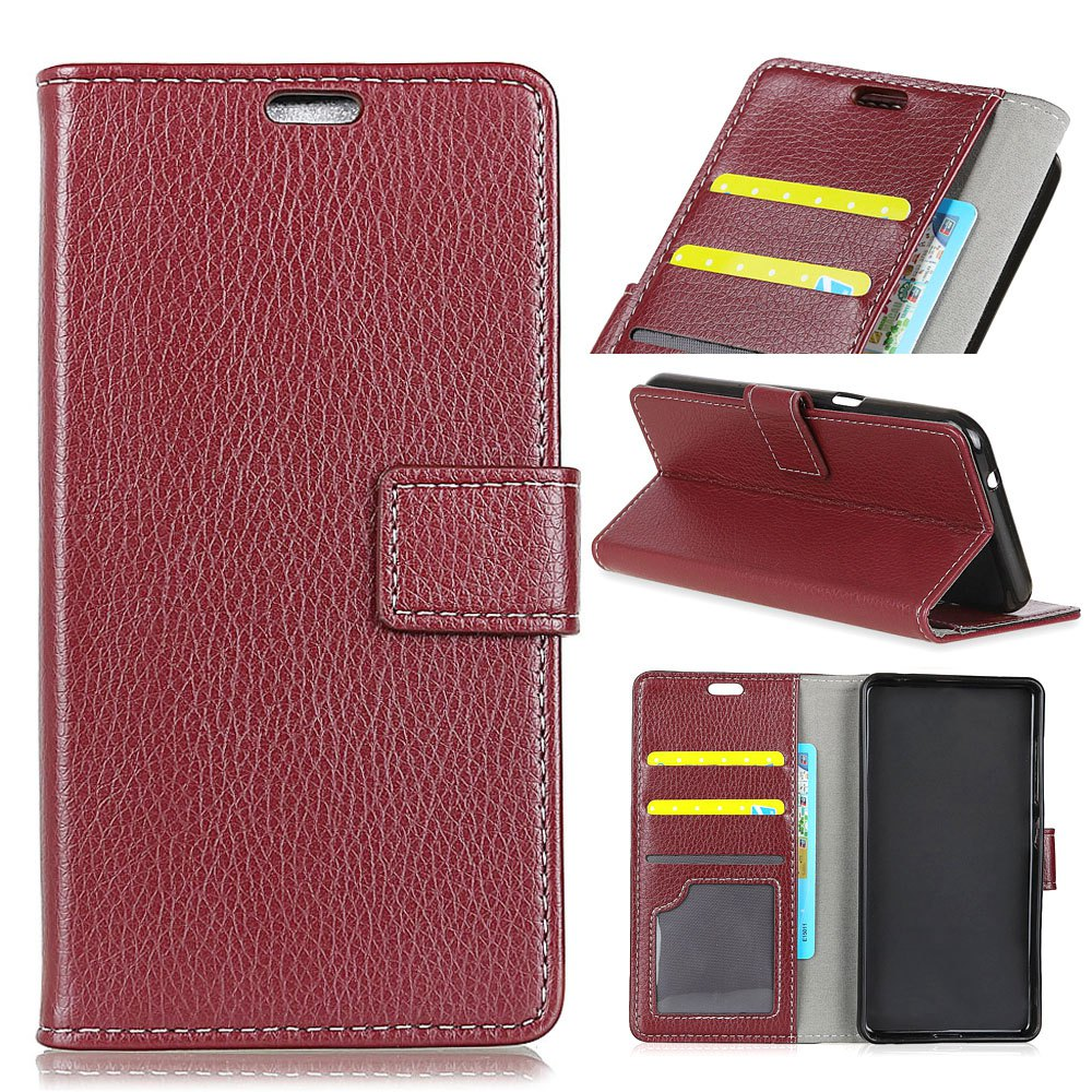 Litchi Pattern PU Leather Wallet Case for Huawei Honor 7X - BROWN