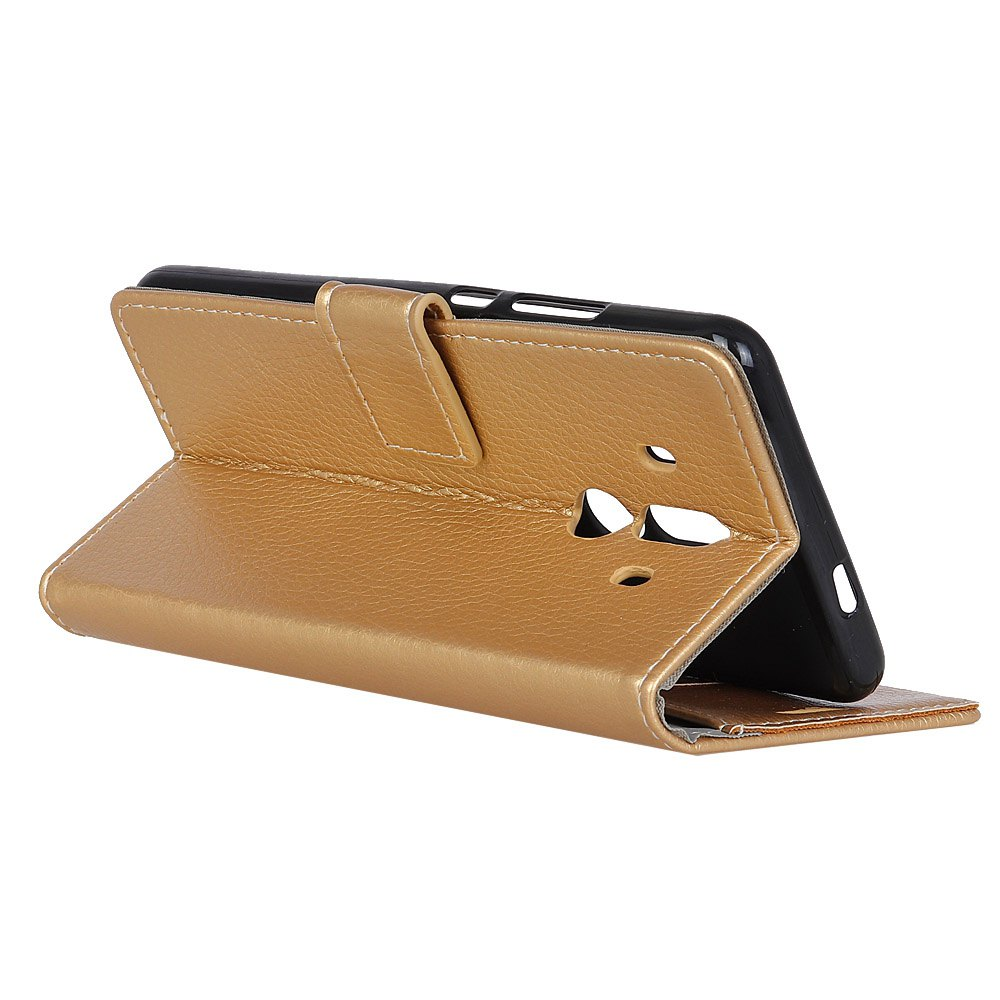 Litchi Pattern PU Leather Wallet Case for Huawei Mate 10 Pro - GOLDEN
