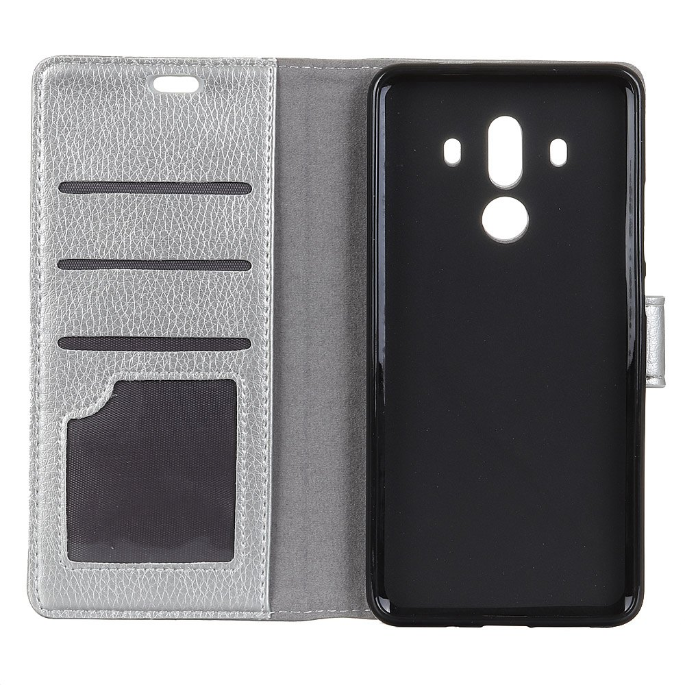 Litchi Pattern PU Leather Wallet Case for Huawei Mate 10 Pro - SILVER