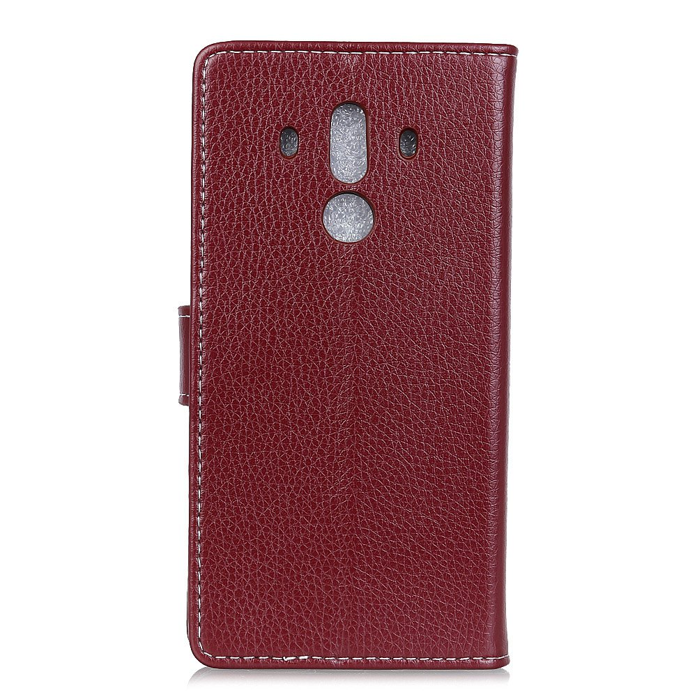 Litchi Pattern PU Leather Wallet Case for Huawei Mate 10 Pro - BROWN