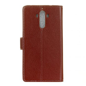 Litchi Pattern PU Leather Wallet Case for Huawei Mate 9 -  BROWN