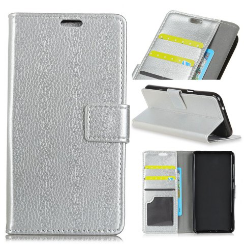 Litchi Pattern PU Leather Wallet Case for Huawei Mate 10 - SILVER