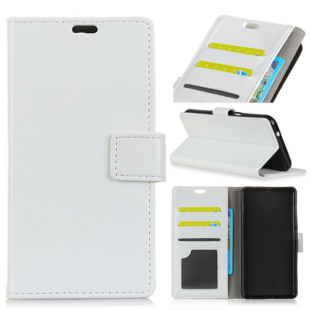 Litchi Pattern PU Leather Wallet Case for Huawei Mate 10 - WHITE