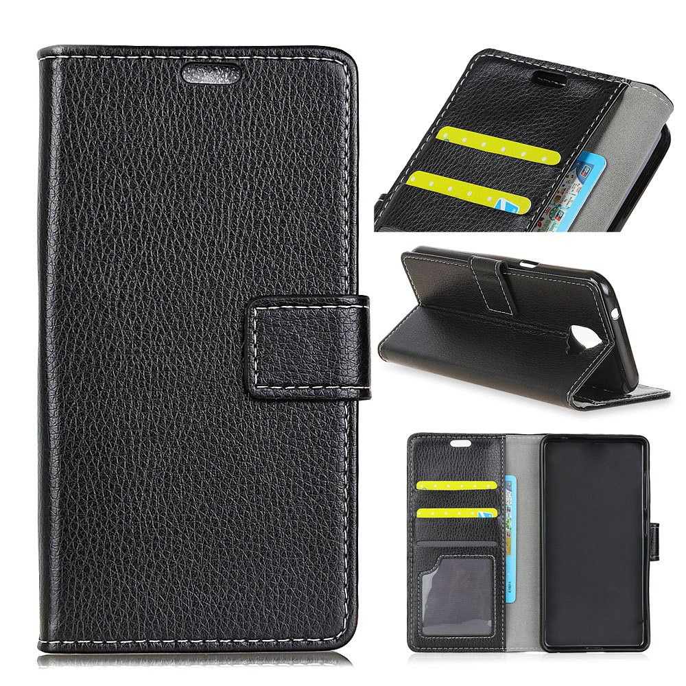 Litchi Pattern PU Leather Wallet Case for Huawei Mate 10 - BLACK