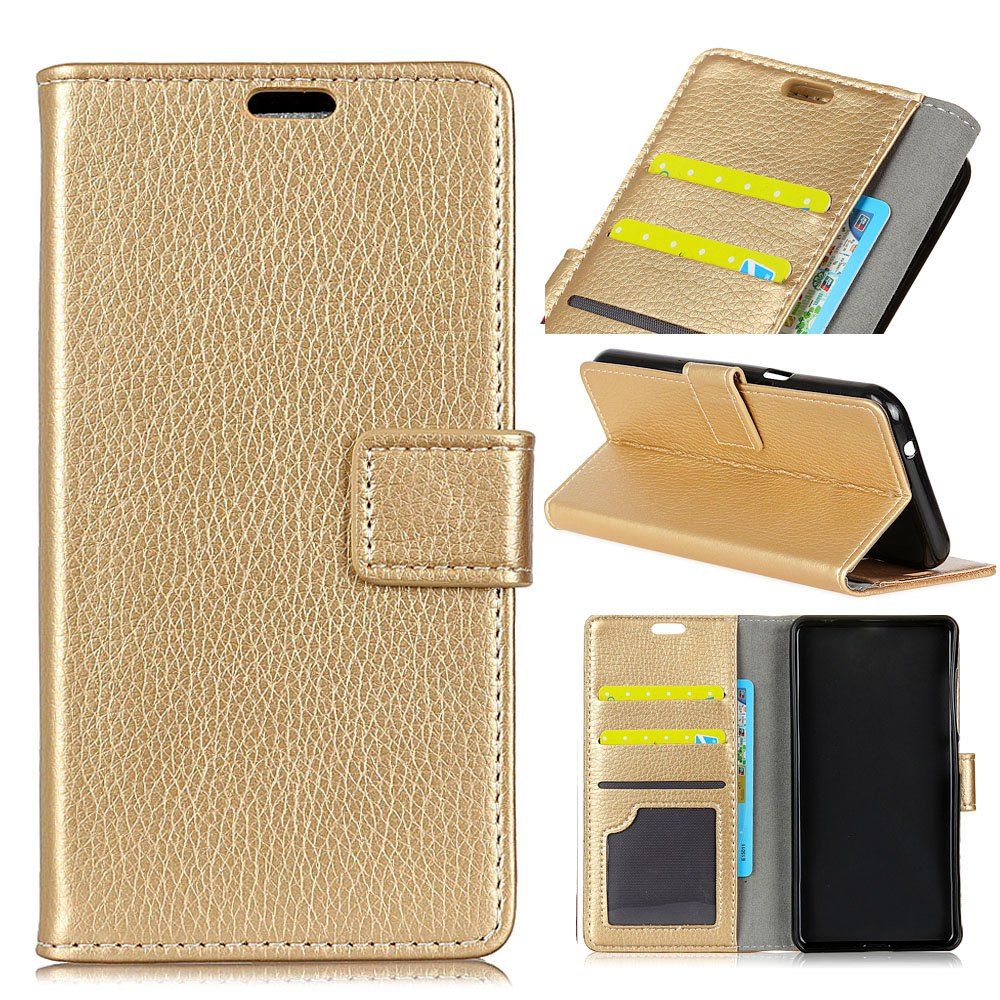 Litchi Pattern PU Leather Wallet Case for Huawei Mate 10 - GOLDEN
