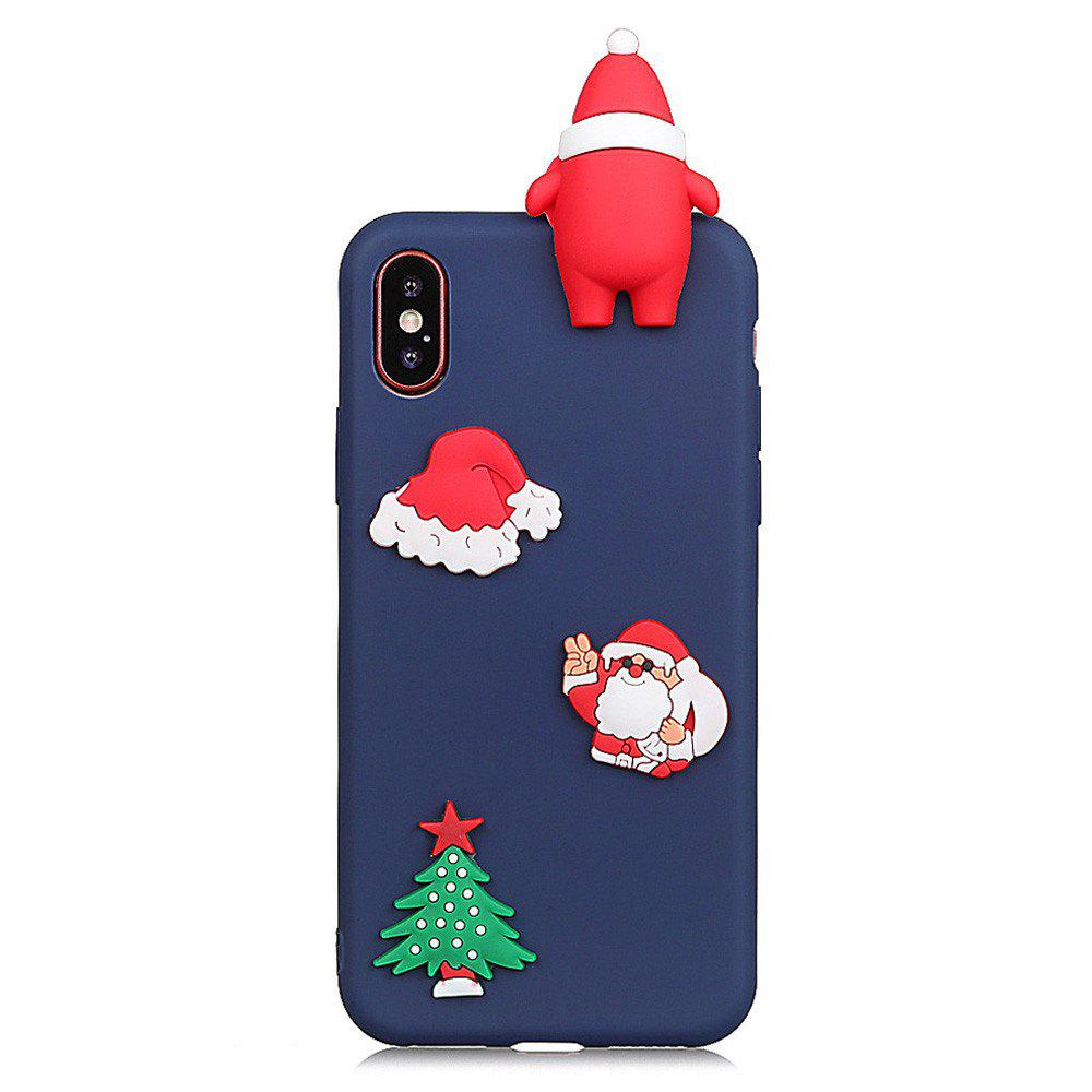 for iPhone X Case  Cute Stylish Stereoscopic Toys TPU Protective Shock Absorption Pure Cover Bumper Anti-Scratch Slim Smooth Shell Skin - BLUE